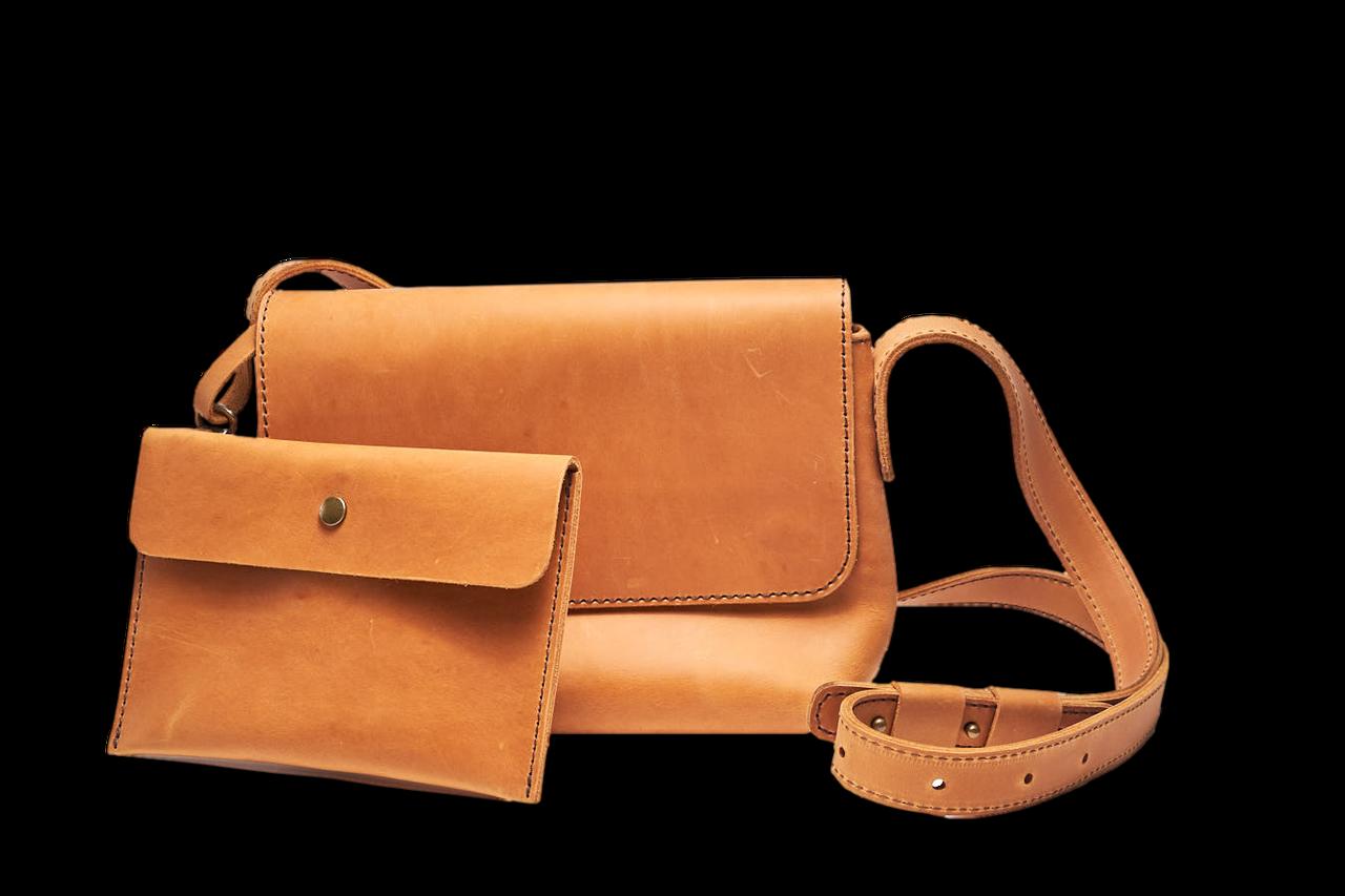 Кожаная сумка кросс-боди Cross женская песочная