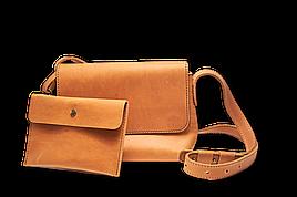Шкіряна сумка крос-боді «Cross Foxy» жіноча пісочна (25x19 см) з косметичкою ручної роботи від