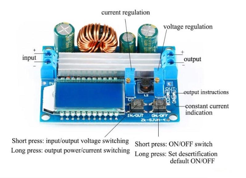 Универсальный понижающий/повышающий преобразователь DC-DC 5.5-30В - 0.5-30В 4А 35Вт с ЖК дисплеем