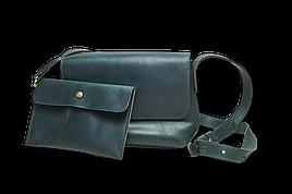 Кожаная сумка кросс-боди Cross женская зеленая