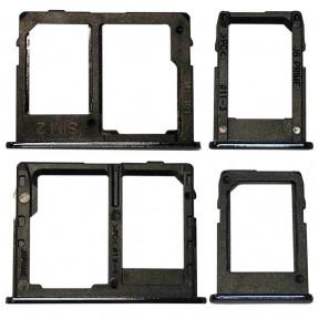 Держатель Sim-карты и карты памяти Samsung J415 Galaxy J4 Plus, J610 Galaxy J6 Plus, черный, на две Sim-карты,