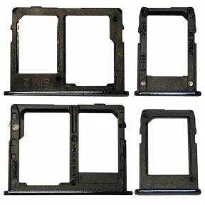 Держатель Sim-карты и карты памяти Samsung J415 Galaxy J4 Plus, J610 Galaxy J6 Plus, черный, на две Sim-карты,, фото 2