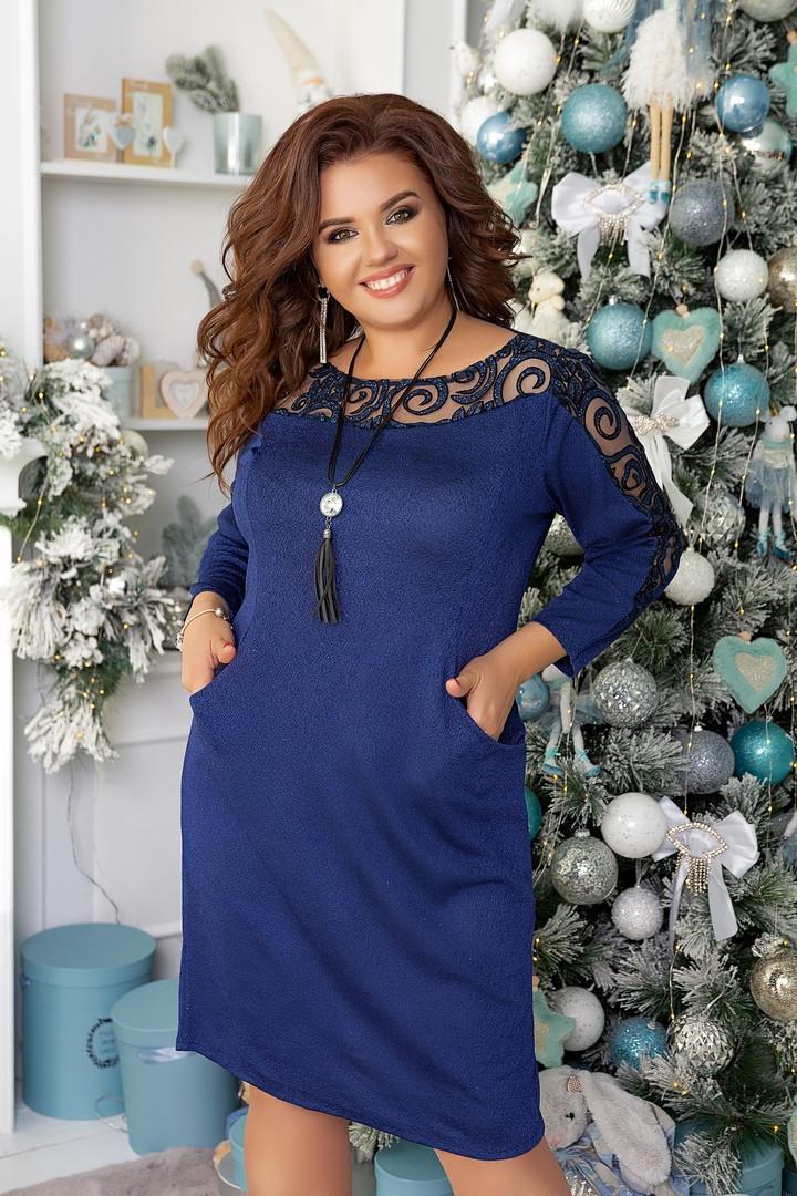 Женское нарядное комбинированное платье(3расцв) 48-58р