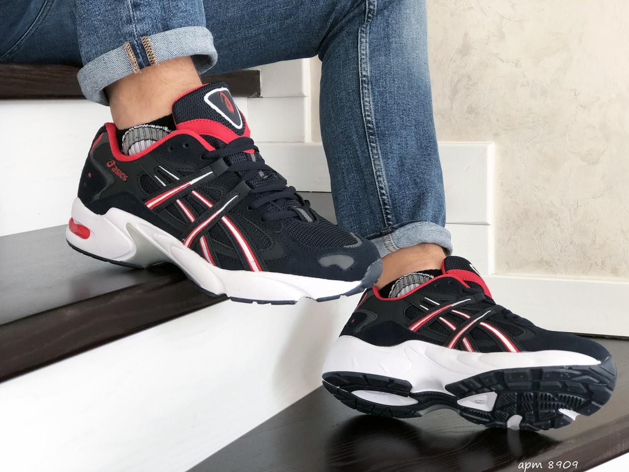 Мужские кроссовки Asics (темно-синие с белым)