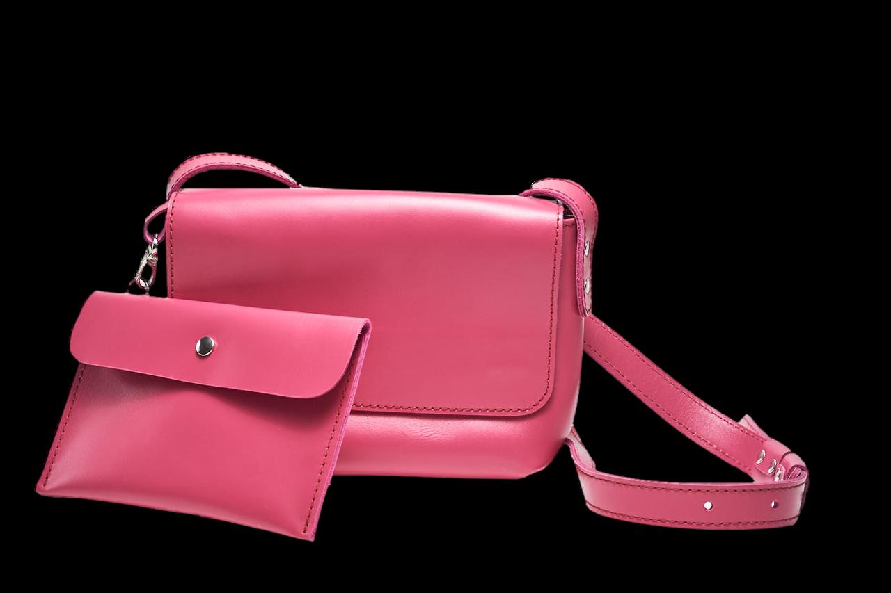 Шкіряна сумка крос-боді «Cross Fuchsia» жіноча малинова (25x19 см) з косметичкою ручної роботи