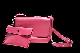 Кожаная сумка кросс-боди Cross женская малиновая