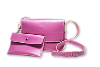 Кожаная сумка кросс-боди «Cross Lilac» женская сиреневая (25x19 см) с косметичкой ручной работы от pan Krepko
