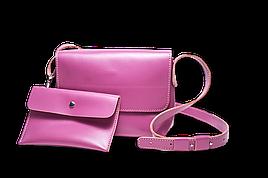 Шкіряна сумка крос-боді «Cross Lilac» жіноча бузкова (25x19 см) з косметичкою ручної роботи