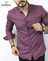 Облегающая рубашка мужская  малинового цвета с рисунком, фото 1