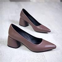 Шикарные кожаные туфли на каблучке 36-40 р кофе, фото 1