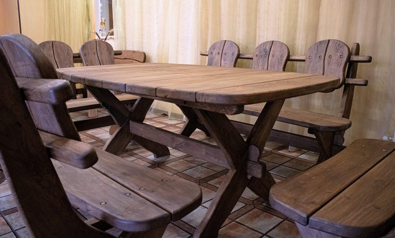 Комплект Western Style фото . Стол и 4 лавки из дуба от производителя