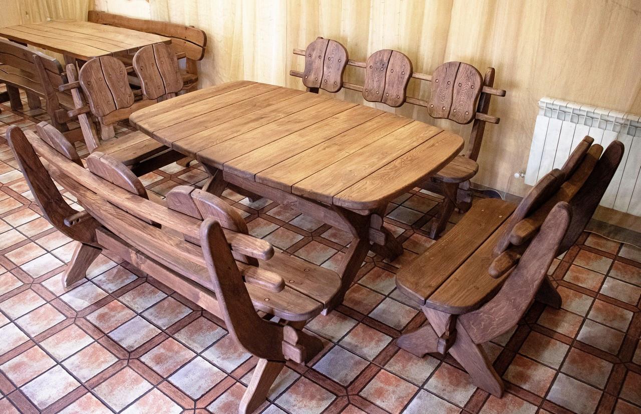 Мебель из массива дуба 1750х1100, комплект Western Style - 01. Стол и 4 лавки из дуба от производителя