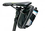 Велосумка під сідло з відділення під пляшку чорний з білим BRAVVOS AZ-400