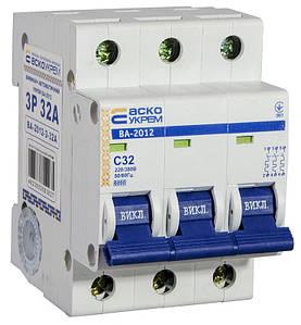Автоматичний вимикач УКРЕМ ВА-2012 3р 32А АСКО