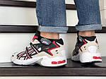 Чоловічі кросівки Asics (бежево-білі з червоним), фото 4