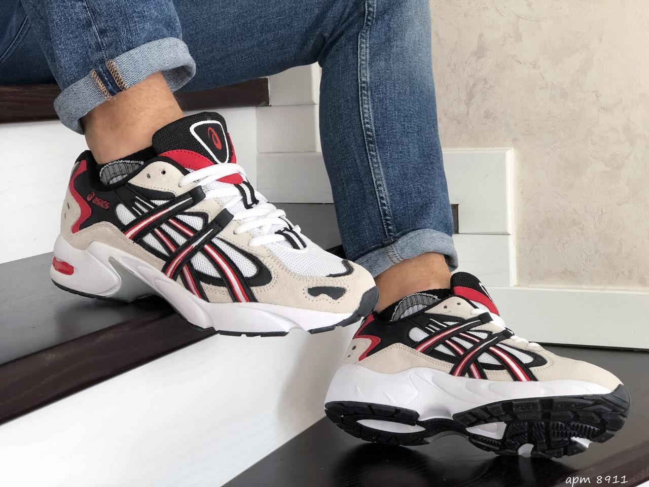 Чоловічі кросівки Asics (бежево-білі з червоним)