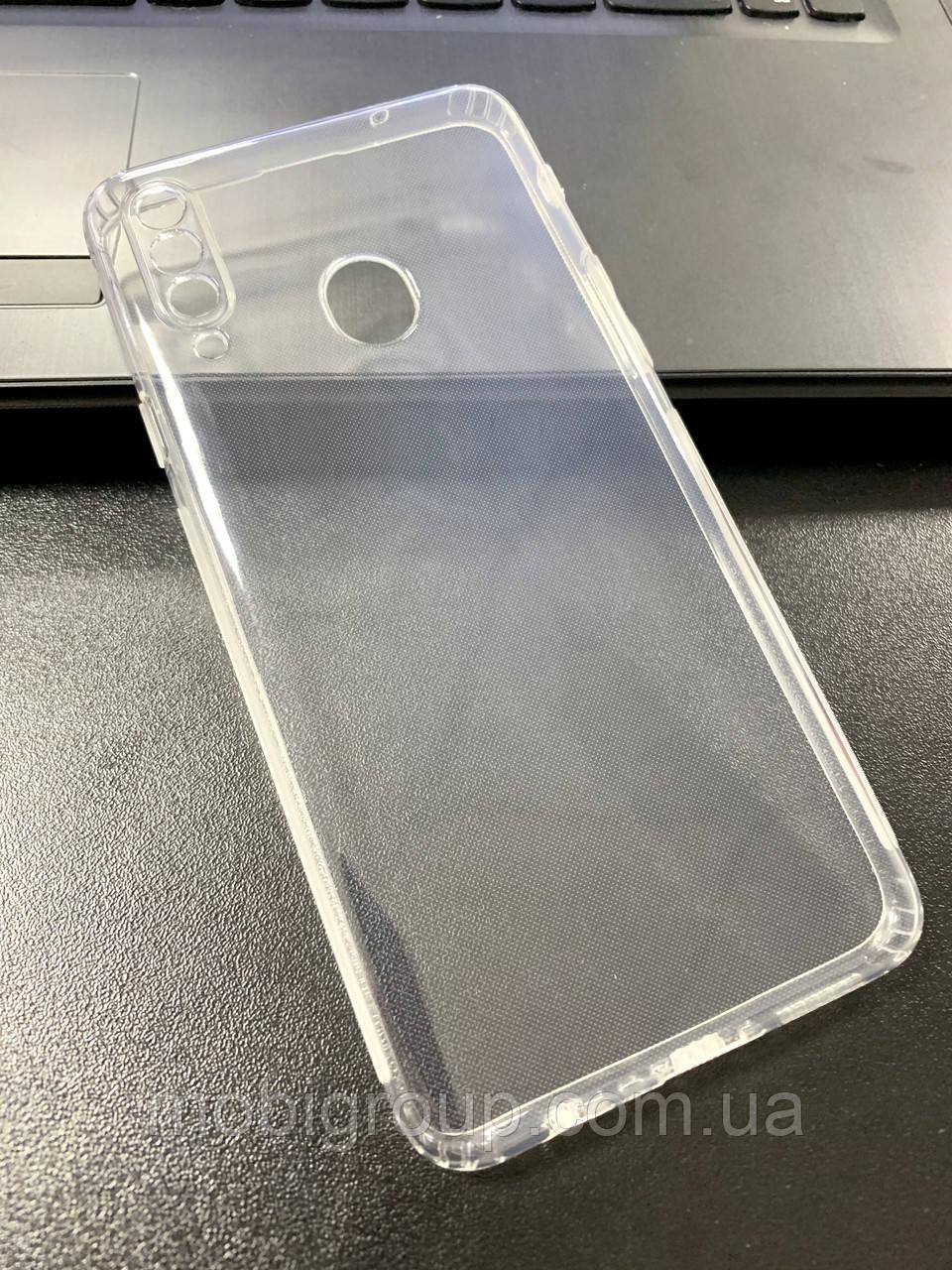 Чехол для Samsung A20S силиконовый прозрачный (с заглушками)