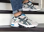 Чоловічі кросівки Asics (бежево-білі з блакитним), фото 2