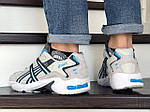 Чоловічі кросівки Asics (бежево-білі з блакитним), фото 3