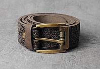 Кожаный качественный коричневый ремень с тисненым орнаментом, фото 1