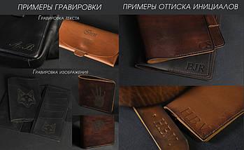"Кожаный пенал ""Скрутка на 4 кармана"" Винтажная кожа цвет Шоколад, фото 3"