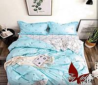 Голубое детское постельное белье полуторка тм TAG  с буквами