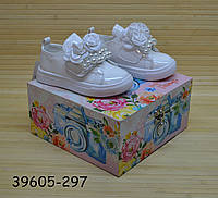 Демісезонні нарядні білі черевики туфлі для дівчинки розміри 28, фото 1