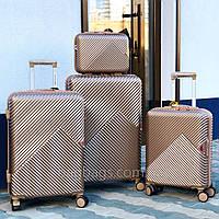 Большой L чемодан из поликарбоната премиум серии на 4-х двойных колесах с ТСА замком Шампань