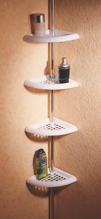 Полка для ванной четверная угловая Н 18 (алюминиевая труба) PRIMA NOVA