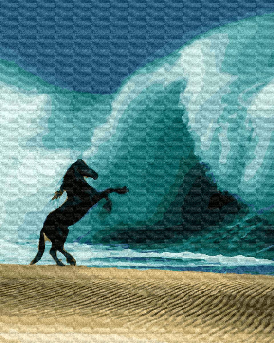 Картина за номерами Кінь проти хвилі (BK-GX33023) 40 х 50 см (Без коробки)