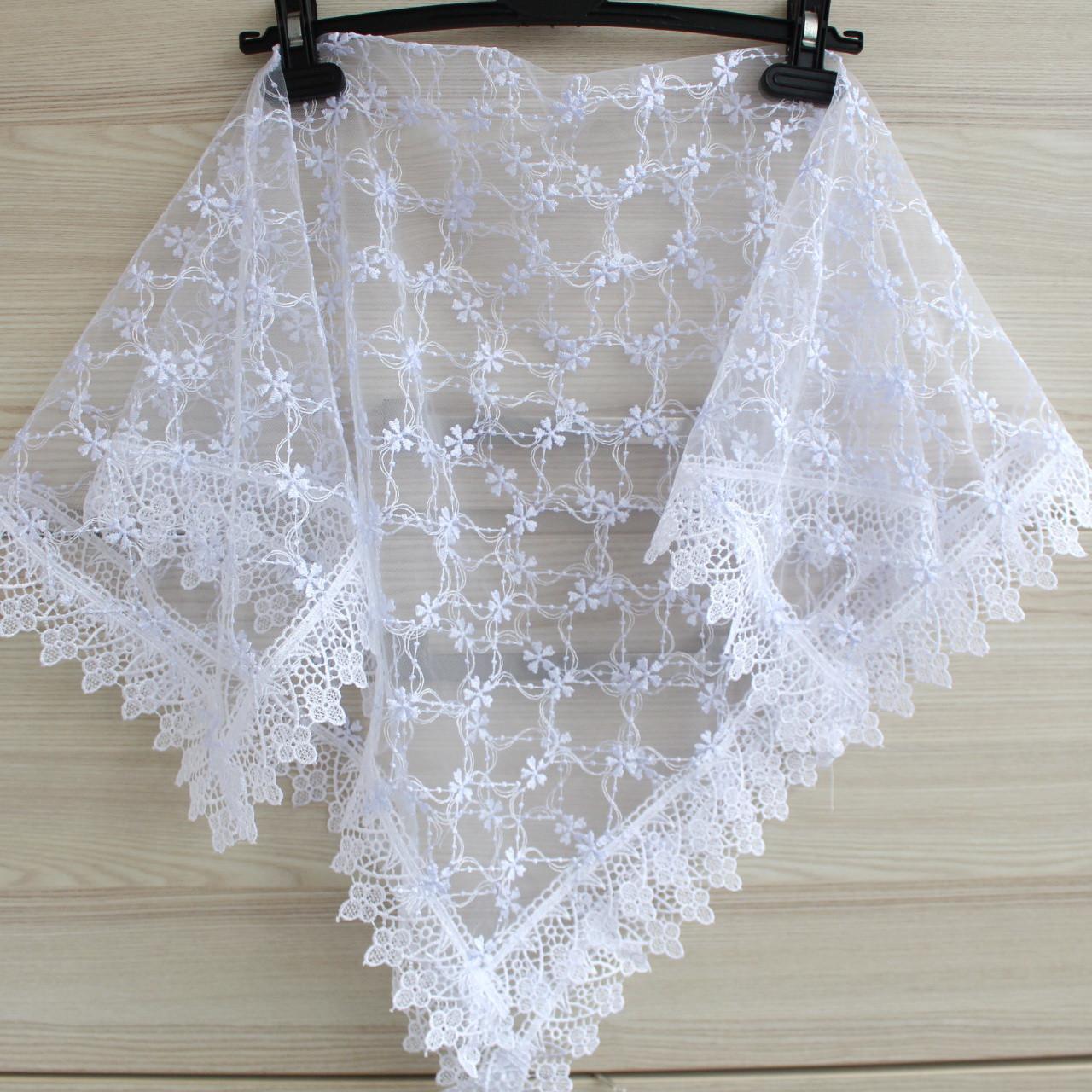 Платок белый свадебный церковный ажурный 230016