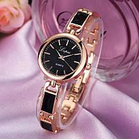 Часы женские Lupai наручные кварцевые с золотистым металлическим ремешком и чёрным циферблатом