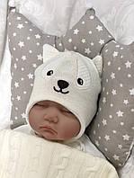 """Вязанная шапочка для новорожденных """"Маленький волчок"""" 0-3 (на хлопковом подкладе) молочный"""