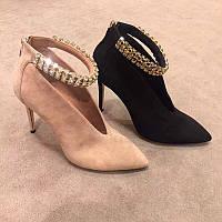 Невероятно стильные замшевые женские туфли в стиле CASADEI с камнями