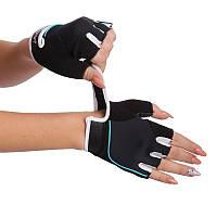 Перчатки для фитнеca женские MARATON, PVC, PL, открытые пальцы, р-р S-M, черный (16-1750)