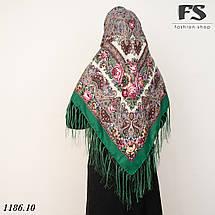 Павлопосадский зелёный  платок Осеннее танго, фото 2