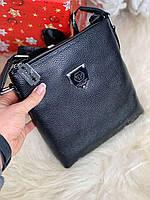 Кожаная черная мужская барсетка сумка через плечо мессенджер натуральная кожа