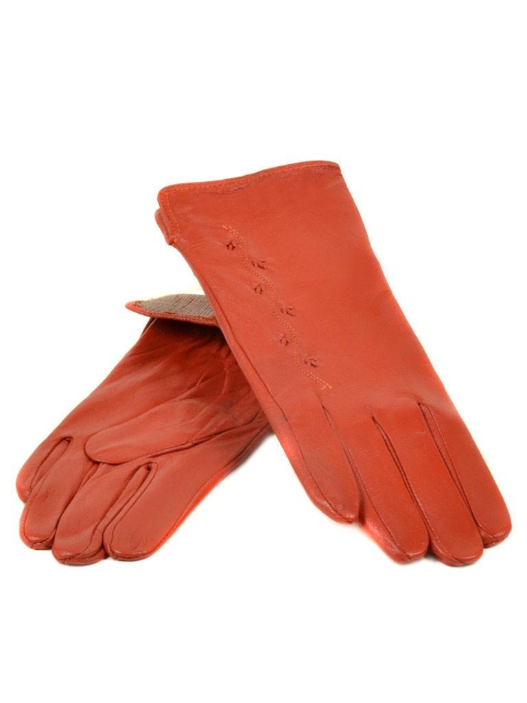 Перчатка Женская кожа (Ш) F23 мод6 оранж st2 Распродажа