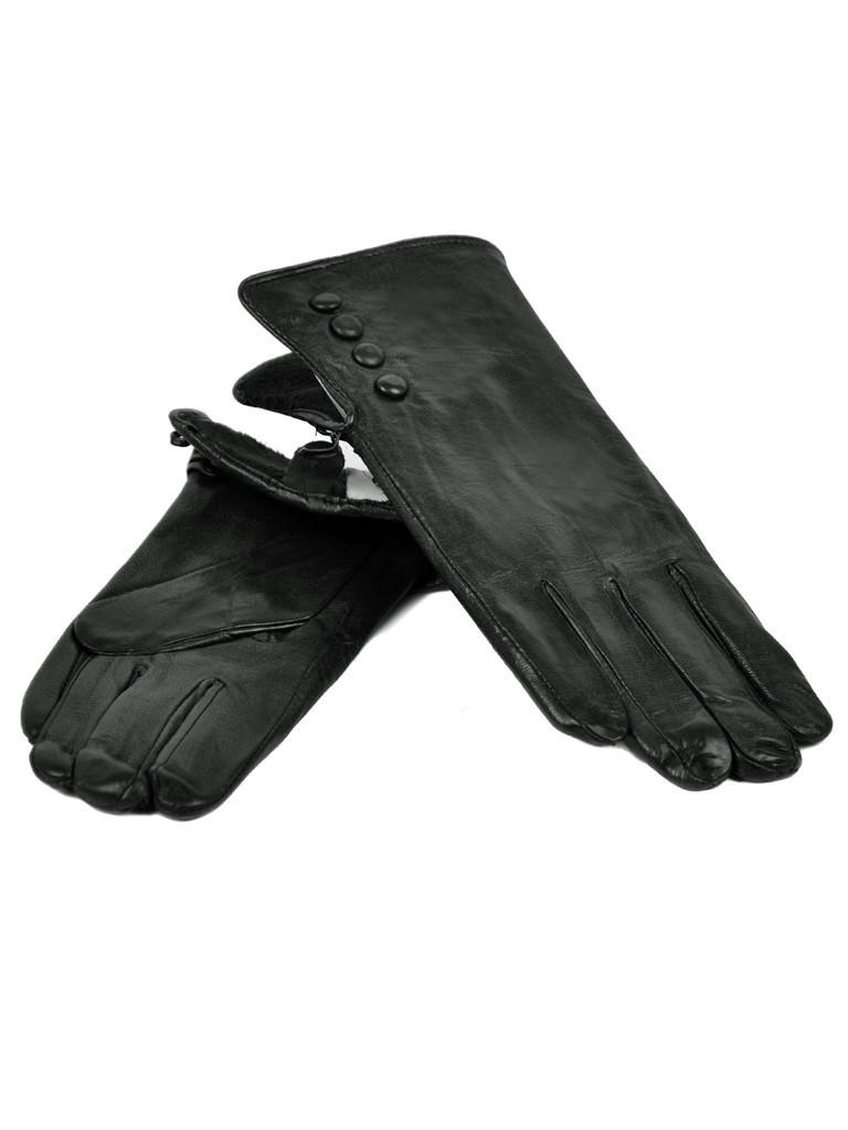 Перчатка Женская кожа F24-17/1 мод1 black флис