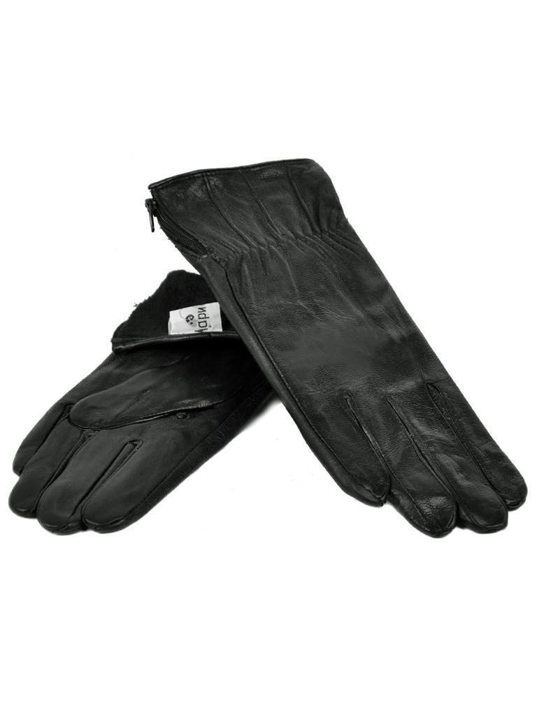 Перчатка Женская кожа F24-17/1 мод7 black флис