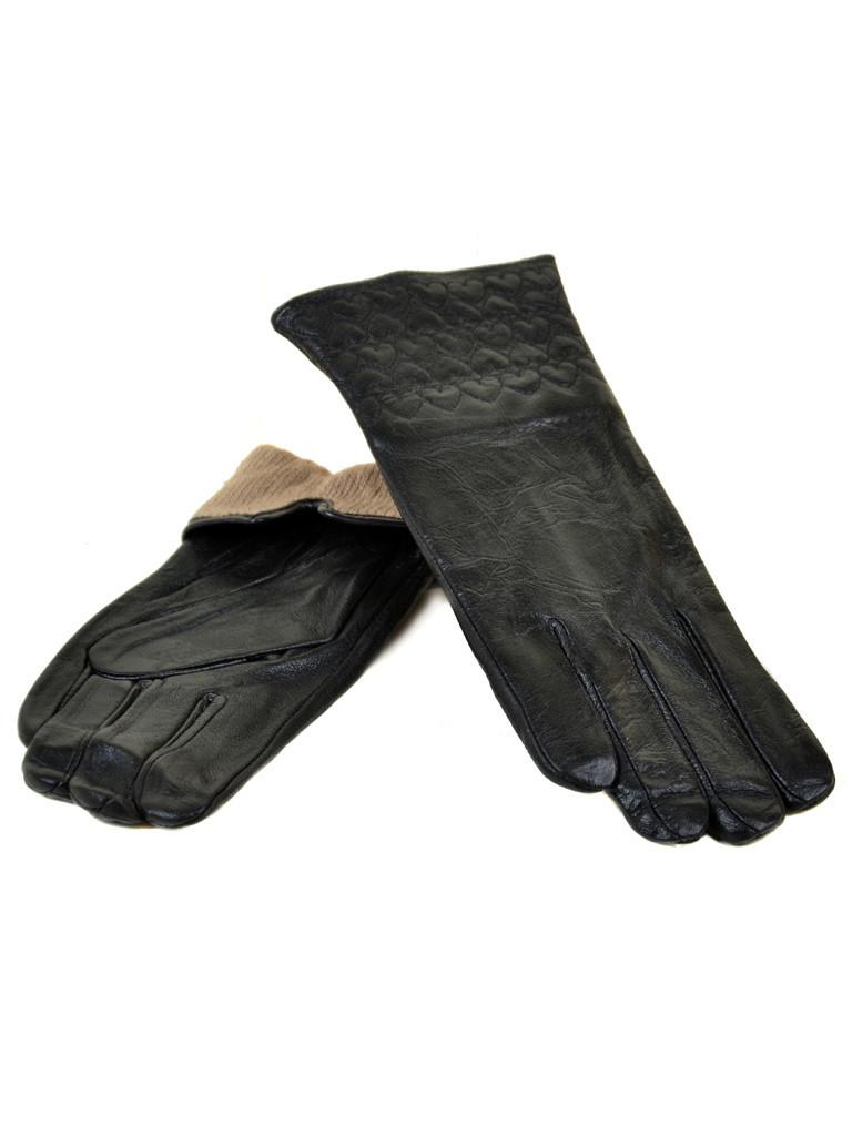 Перчатка Женская кожа F24/17 мод10 black шерсть