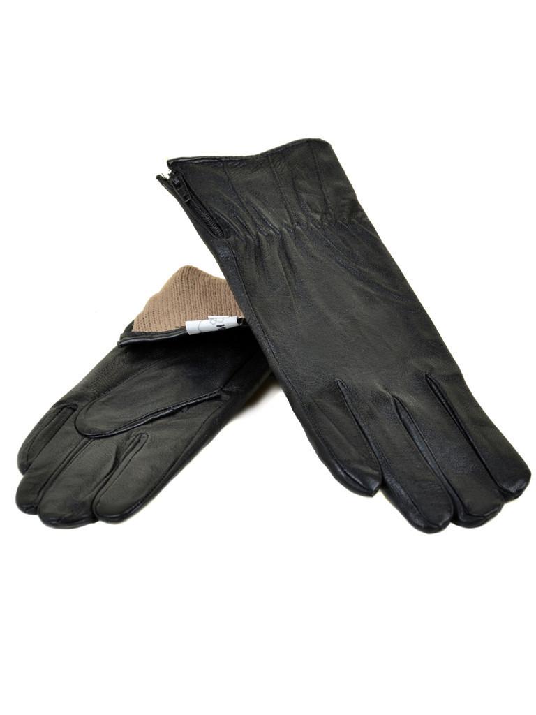 Перчатка Женская кожа F24/17 мод7 black шерсть