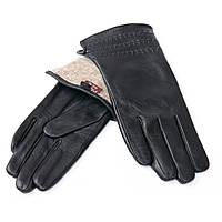 Перчатка Женская кожа F24/19 мод7 black шерсть