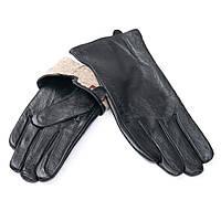 Перчатка Женская кожа F24/19 мод9 black шерсть