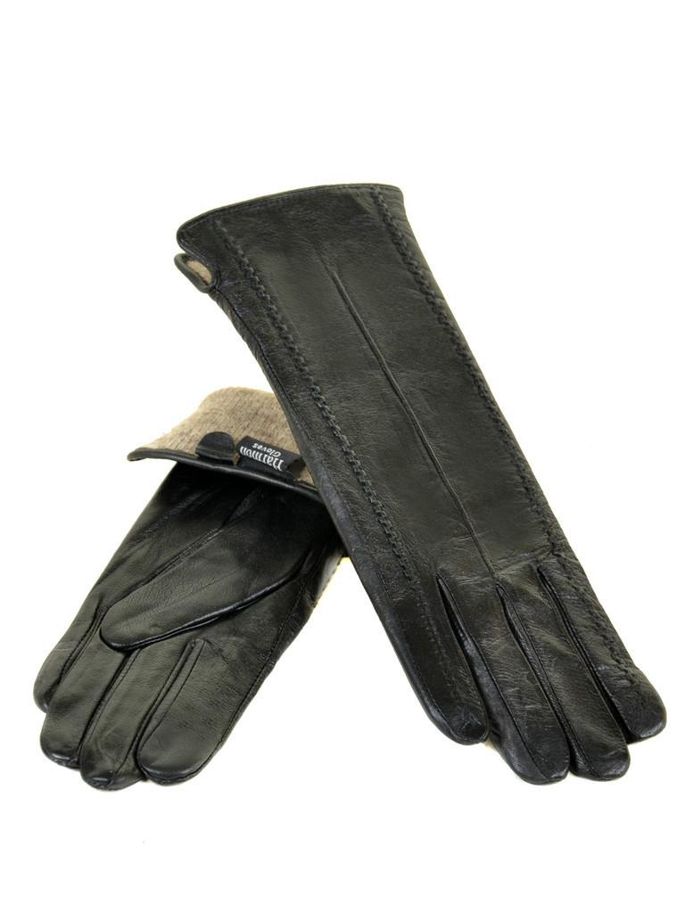 Перчатка Женская кожа F25-17/2 33см мод3 black шерсть