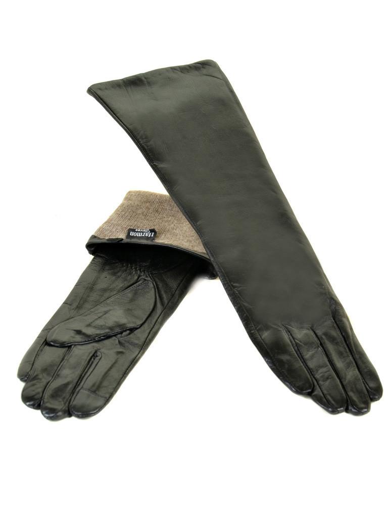 Перчатка Женская кожа F25/17 40см мод2 black шерсть Распродажа