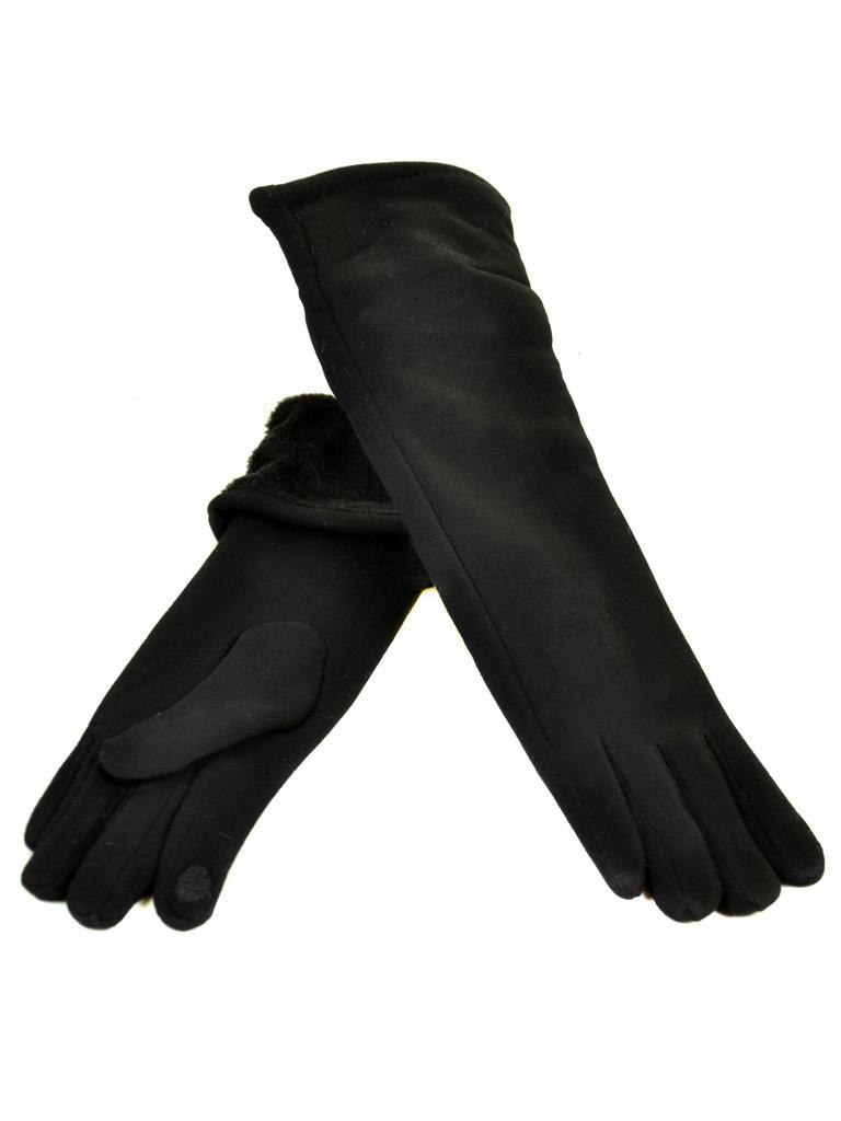 Перчатка Женская стрейч F16/2/17 мод4 black длинная сенсор