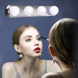 Підсвічування на дзеркало для макіяжу, Studio Glow, 4 лампи, Металік, бездротовий світильник для дзеркала