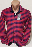 Рубашка мужская кашемир Paul Smith vd-0046 красная приталенная в клетку с длинным рукавом Турция S
