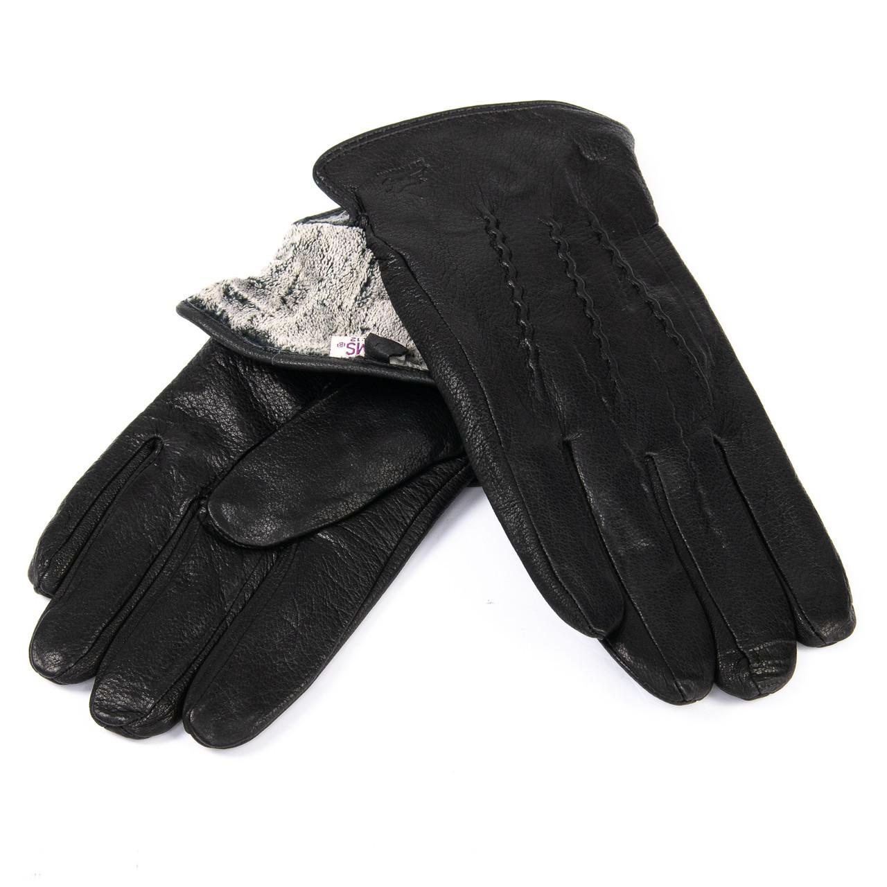 Перчатка Мужская кожа-олень M32/19 мод4 black махра
